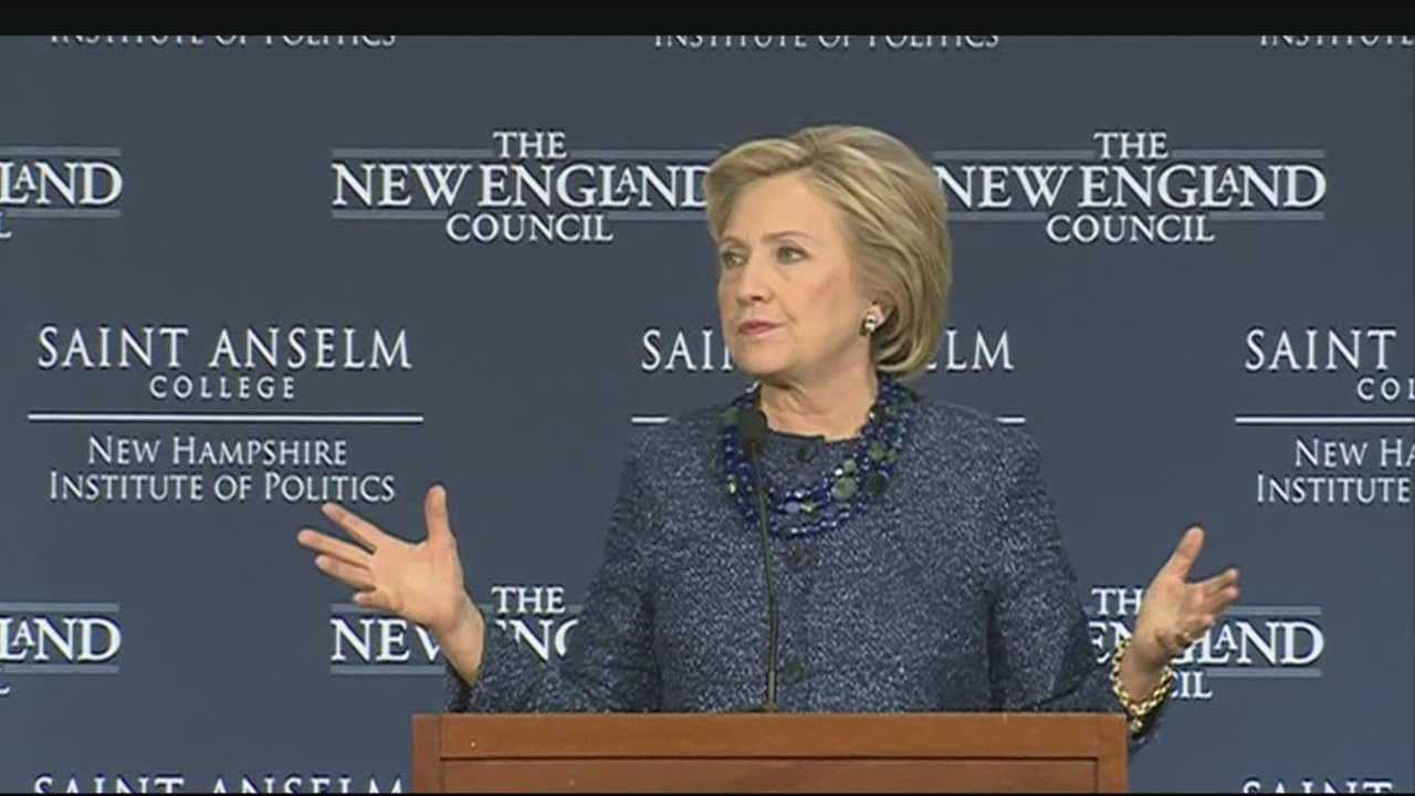 Democratic presidential candidate Hillary Clinton speaks at a Politics and Eggs event in Manchester.