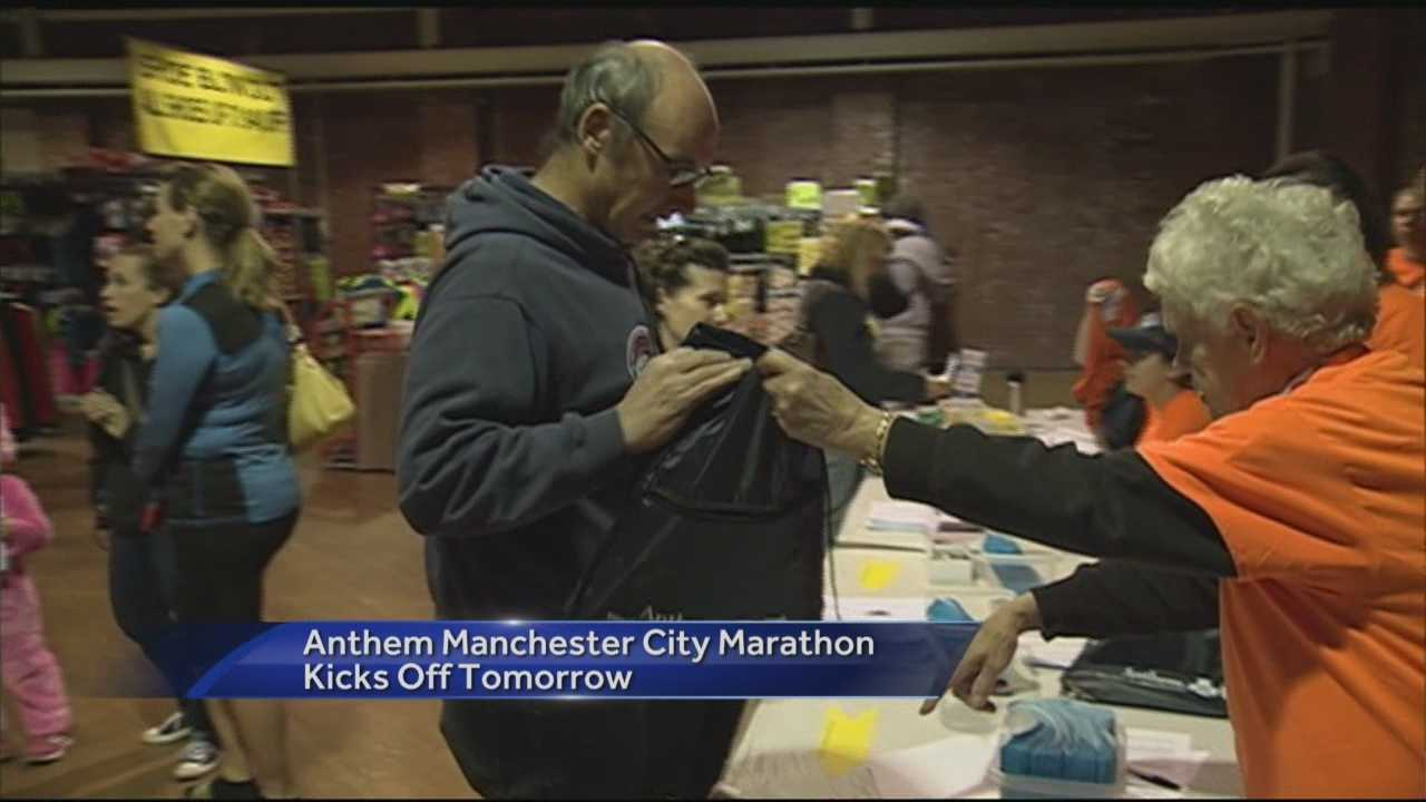 Runners check in ahead of Anthem Manchester City Marathon on Sunday.