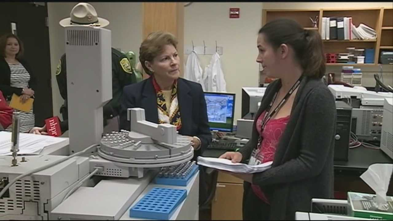 U.S. Sen. Jeanne Shaheen toured the state drug lab Friday as the lab struggles to deal with a growing backlog of cases.