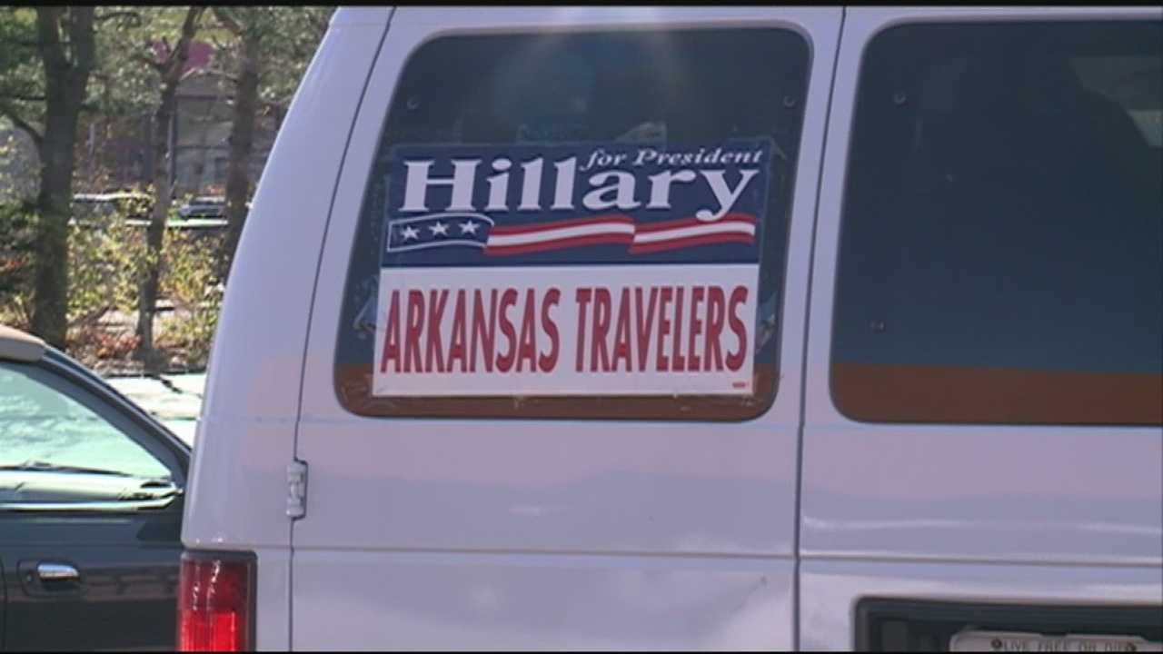 A group of close friends of Bill and Hillary Clinton spent the day campaigning for the former Secretary of State.