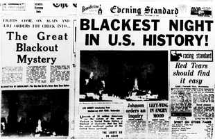The Great Northeastern Blackout came at the height of the evening rush hour on Nov. 9, 1965, and plunged tens of millions into darkness across the northeastern U.S. and southern Canada for hours, including New York, Boston and Toronto.