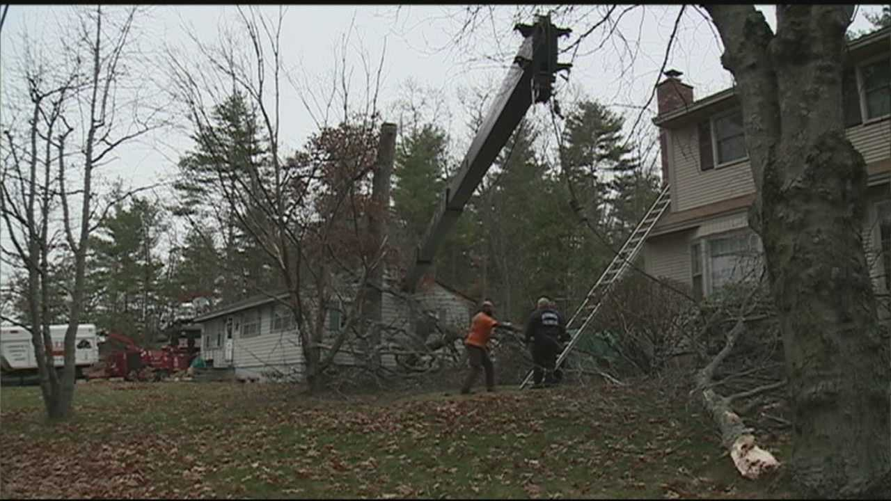 A crane crashed through the roof of a Merrimack home Thursday where workers were cutting trees.