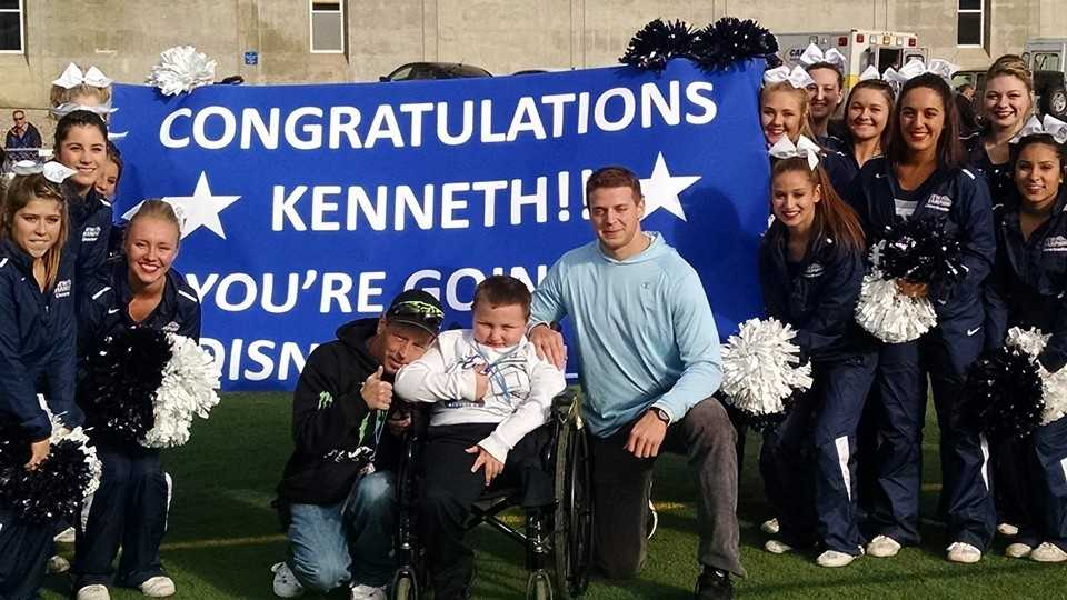 A Bristol boy got his wish granted in the middle of Cowell Stadium Saturday.