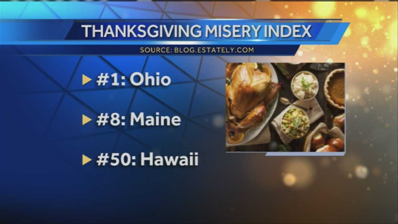 A blog on Estately.com has ranked Maine as having the eighth most miserable Thanksgiving out of all 50 states.