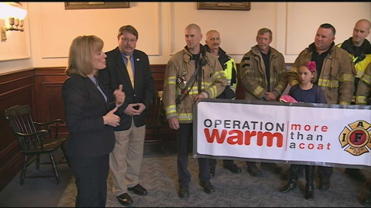 "Gov. Maggie Hassan joined the Professional Fire Fighters of NH Monday to announce her support for ""Operation Warm."" WMUR's Shelley Walcott reports."