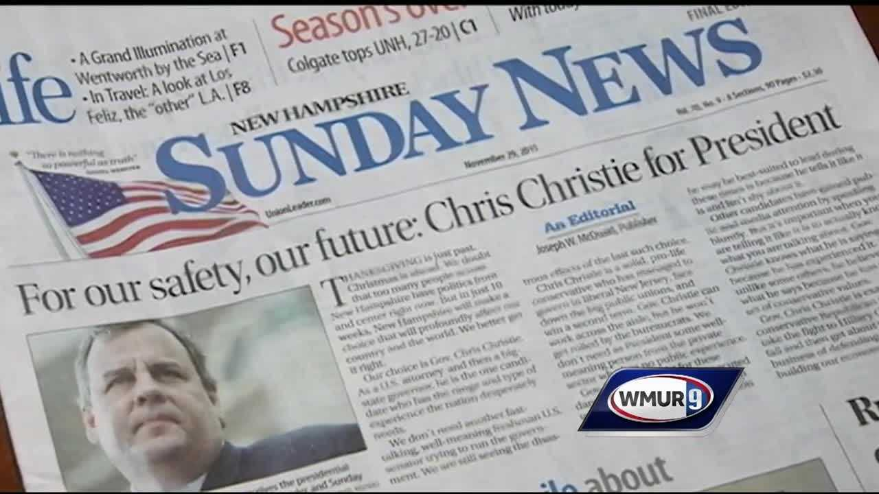 The New Hampshire Union leader has endorsed Republican presidential candidate Chris Christie.