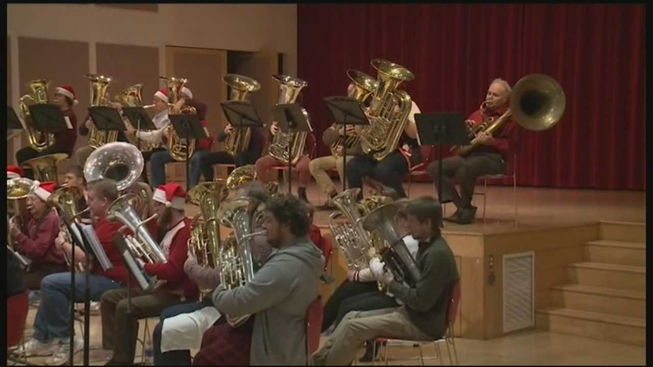 A musical holiday event at Keene State College Sunday featured only tubas!