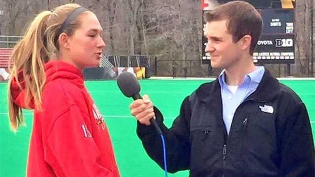 Cam Rogers (right) interviews University of Maryland Women's Lacrosse player Zoe Stukenberg for ESPNU Campus Connection.