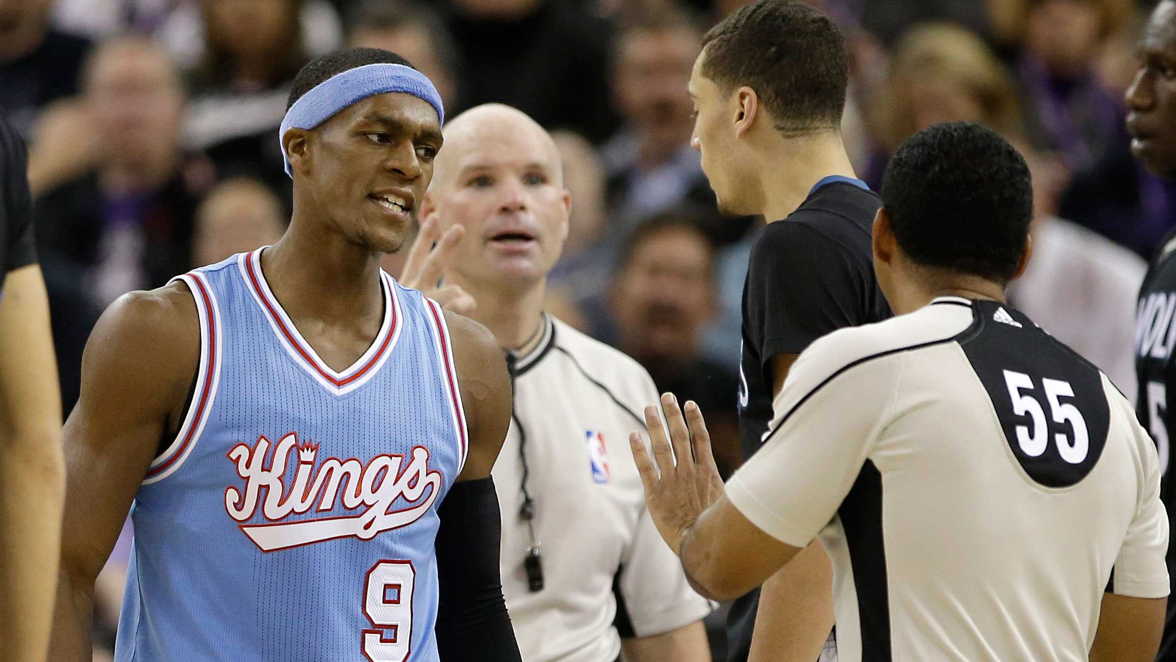Rajon Rondo (left) and referee Bill Kennedy (55).