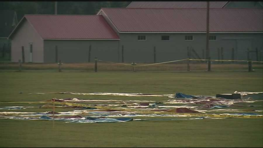 A father and his 6-year-old daughter were killed when a circus tent collapsed in Lancaster during severe thunderstorms. Read more: http://www.wmur.com/news/investigation-continues-into-deadly-circus-tent-collapse/34525596