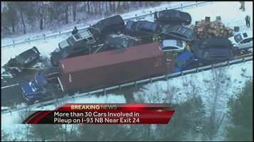 One break-out story from the storms was a 35-car pileup on Interstate 93 in Ashland that left a dozen people injured. Read more: http://www.wmur.com/news/50100-car-pileup-in-ashalnd/30498106