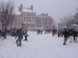 Another was a big snowball fight that broke out during a blizzard in downtown Portsmouth. Read more: http://www.wmur.com/weather/stormwatch/big-snowball-fight-breaks-out-in-downtown-portsmouth/30946260