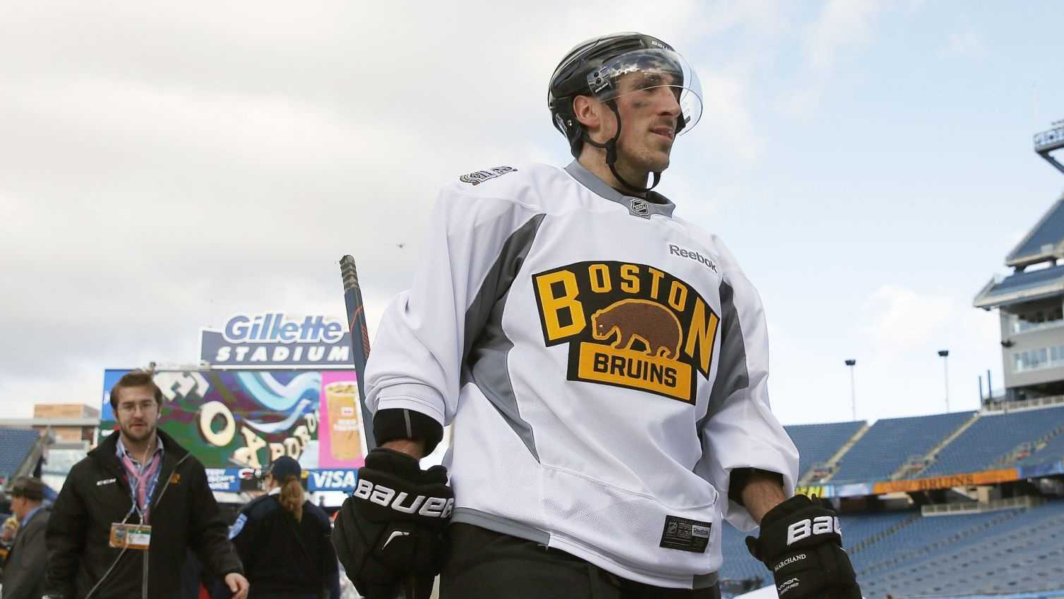 Boston Bruins' Brad Marchand walks off the ice after practice on the outdoor rink at Gillette Stadium in Foxborough, Mass., Thursday, Dec. 31, 2015, where the Bruins will play the Montreal Canadiens in the NHL Winter Classic hockey game on New Year's Day. Marchand was suspended for three games for a clipping incident on Dec. 29 and will not play in the game.