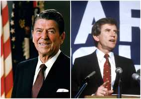 1984 NH Primary winners: Republican President Ronald Reagan (left) and Democrat Senator Gary Hart (right)Regan was the Republican party's nominee and won the presidency. Hart was not his party's nominee.