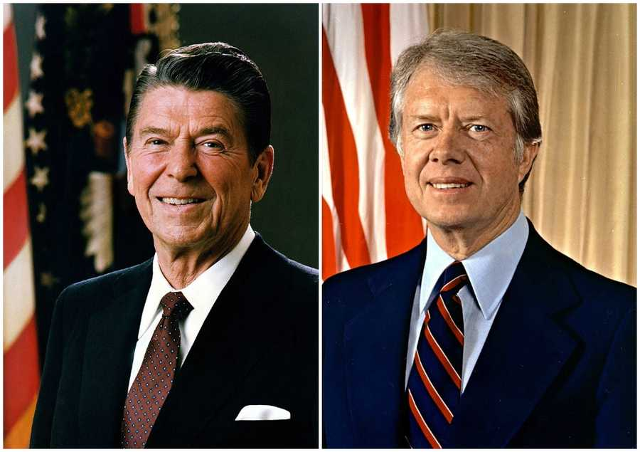 1980 NH Primary winners: Republican Governor Ronald Reagan (left) and Democrat President Jimmy Carter (right)Reagan and Carter both became their respective party's nominee&#x3B; however, a lack of support from Carter's own party helped Reagan win the fall election.