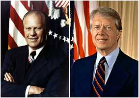 1976 NH Primary winners: Republican President Gerald R. Ford (left) and Democrat Governor Jimmy Carter (right)President Ford won the republican contest over Reagan by 1,587 votes&#x3B; the closest race in presidential primary history. However, a successful one-one grassroots campaign lead Carter to win the New Hampshire primary and presidency.