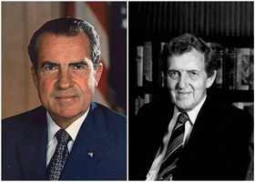 1972 NH Primary winners: Republican President Richard Nixon (left) and Democrat Senator Edmund Muskie (right)Nixon was chosen to be the Republican nominee and became a second-term president, only to resign shortly after from Watergate. Muskie was not selected as the Democratic party nominee.