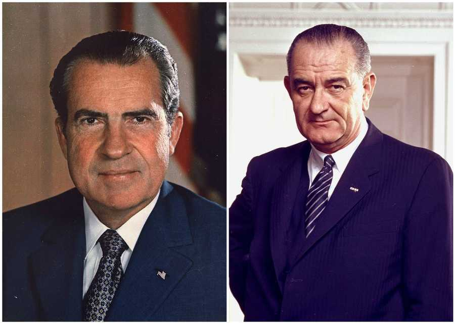 1968 NH Primary winners: Republican Vice President Richard Nixon (left) and Democrat President Lyndon B. Johnson (right)Nixon was selected as his party's nominee and won the election. President Johnson was not selected to be the party's nominee despite his primary win.