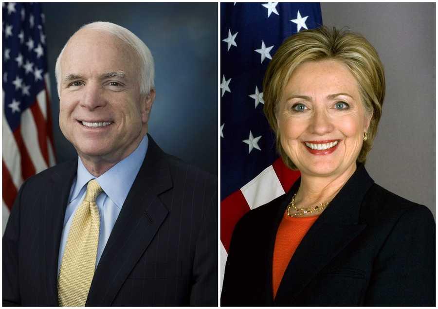2008 NH Primary winners: Republican Senator John McCain (left) and Democratic Senator Hillary Clinton (right)McCain win his second New Hampshire primary and becomes the Republican Party's nominee. Clinton did not become the Democratic Party's nomination to Senator Barack Obama.