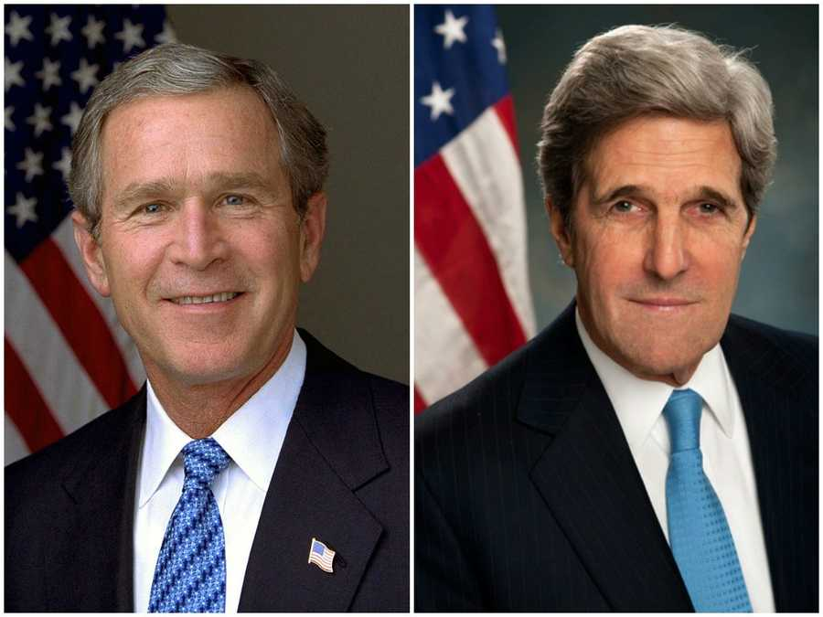 2004 NH Primary winners: Republican President George W. Bush (left) and Democrat Senator John Kerry (right)Both candidates earned their respective party's nomination. Bush won the presidential election.