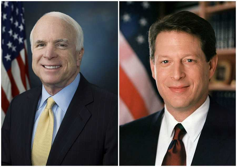 2000 NH Primary winners: Republican Senator John McCain (left) and Democratic Vice President Al Gore (right)McCain won the primary, but did not get the Republican Party's nomination. For the Democratic Party, Gore won every primary that election year.