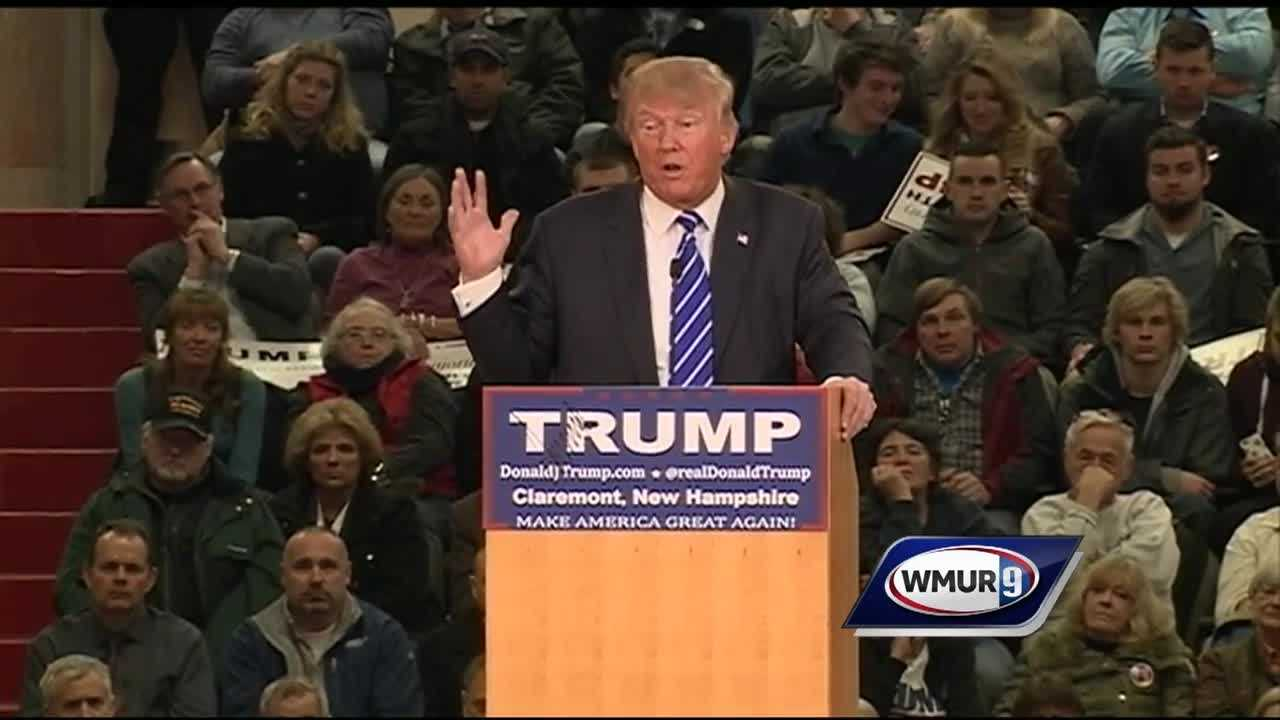 Trump holds rally in Claremont where he discusses his poll numbers and criticized Obama and Hillary Clinton.