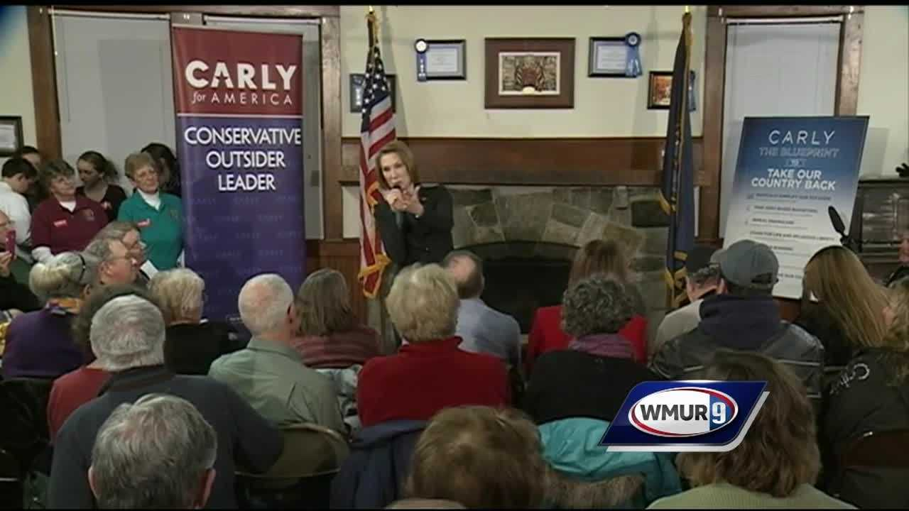 Republican presidential hopeful Carly Fiorina hosts a town hall in Meredith.