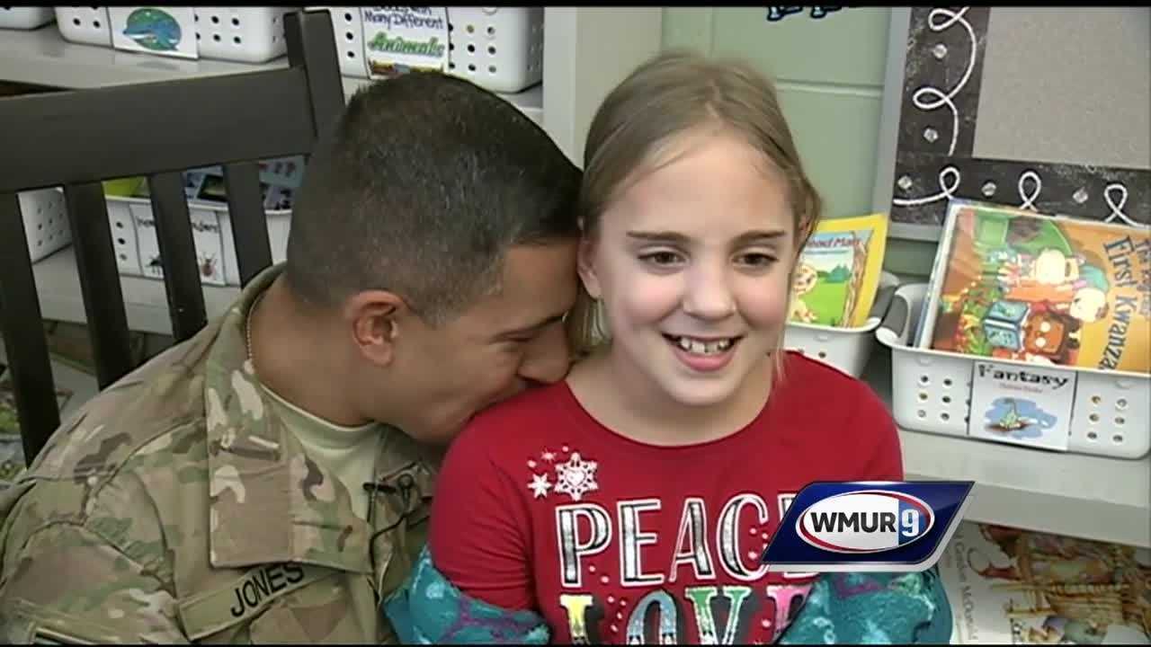 A Milford third-grader got a huge surprise Friday when her father, an Army National Guardsman, met her at school.