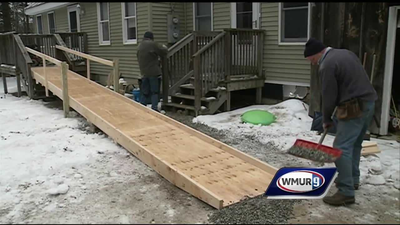 The New Boston community and fire dept are supporting a local disabled veteran by building him a wheelchair ramp and getting him a new wheelchair.