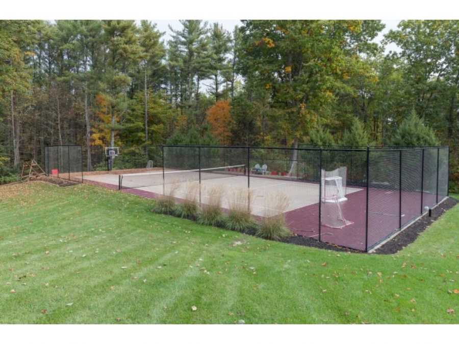 Here is the outdoor court for tennis, basketball or another sport.