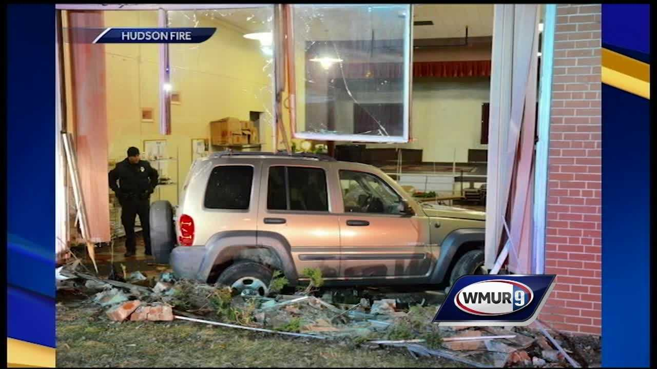 A Nashua man was arrested after crashing his Jeep into a church Monday morning, police said.
