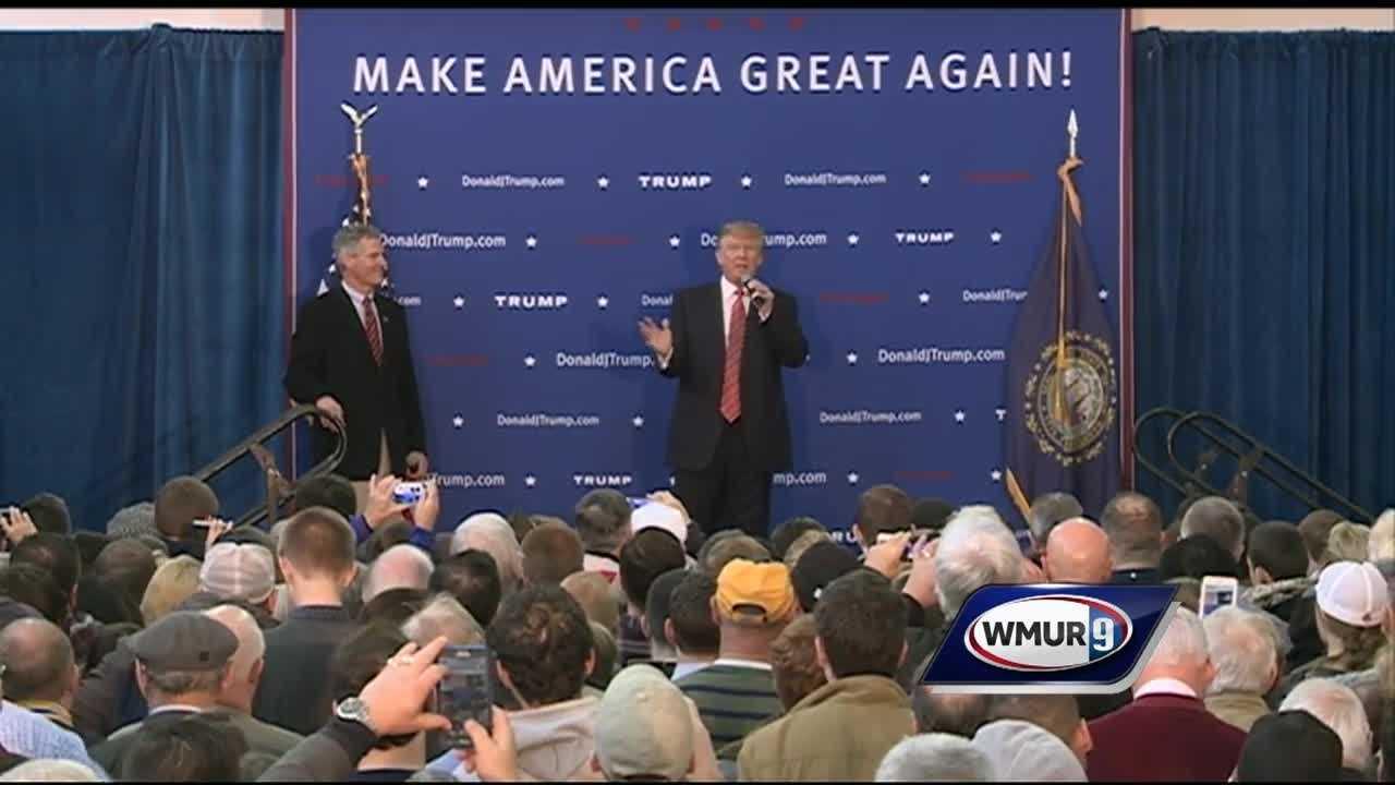 Trump spoke at Scott Brown's no B.S. bbq at a Toyota dealership.