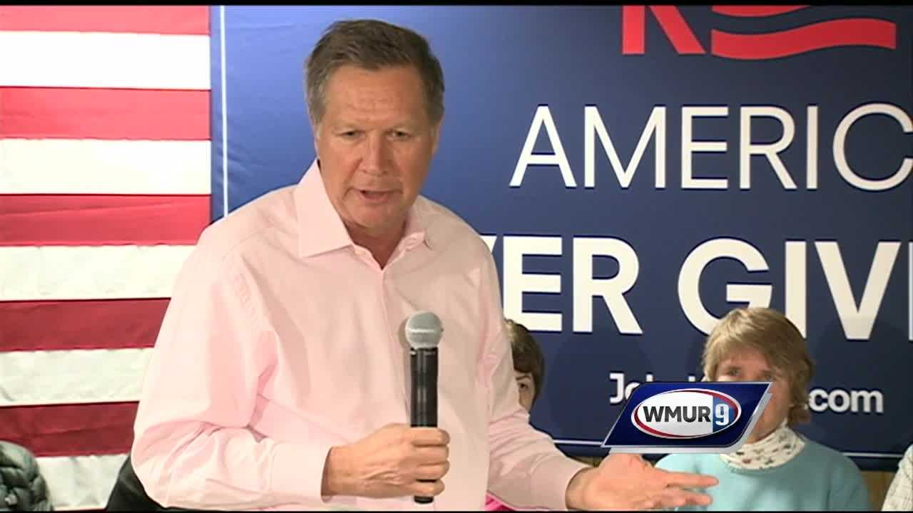 Ohio Gov. John Kasich spoke to voters Friday in New Hampshire as he makes a push in the Granite State weeks before the first-in-the-nation primary.