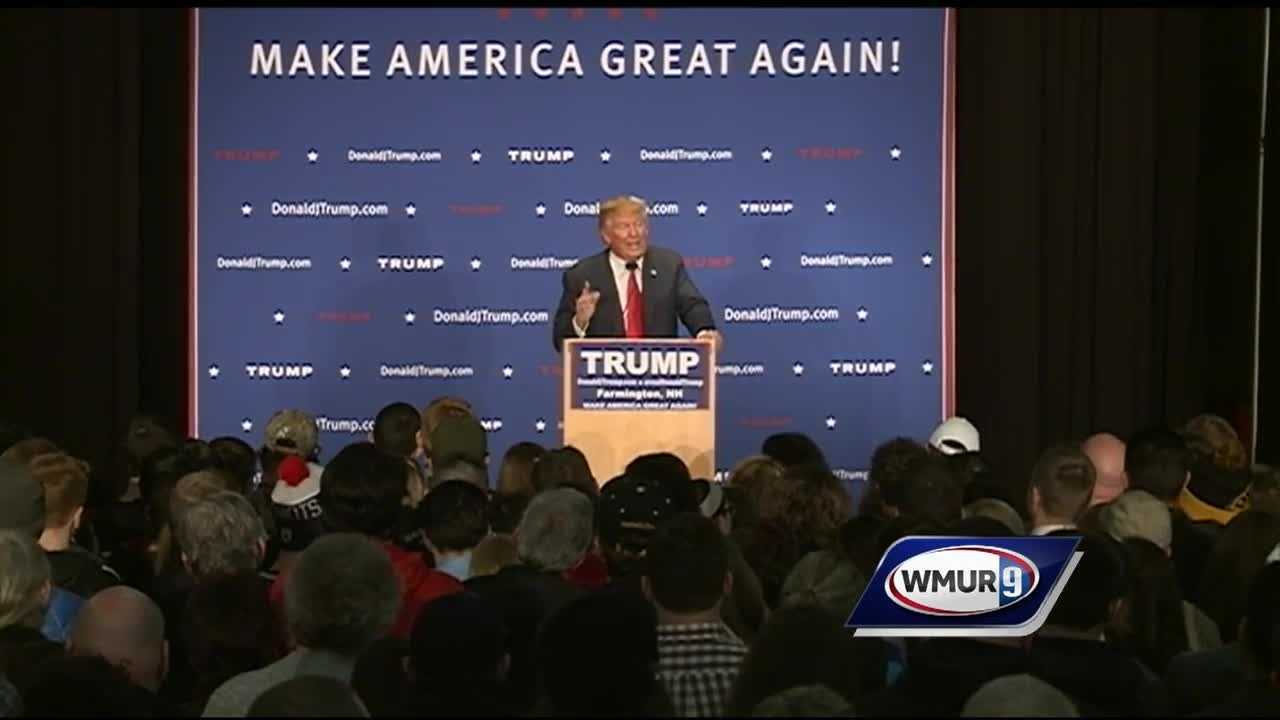 Donald Trump mentiones eminent domain at the end of his rally in Farmington.