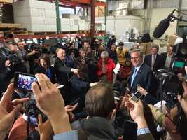 Gov. Jeb Bush holds a press conference after an event at Integra Biosciences in Hudson on March 13, 2015.