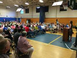 Carly Fiorina fields questions from voters at the New Boston Central School in New Boston on June 9, 2015.