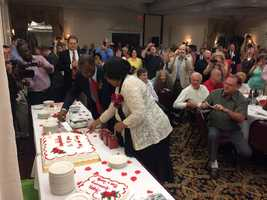 Dr. Ben Carson and his wife Candy celebrate their 40th wedding anniversary in Nashua on July 6, 2015.