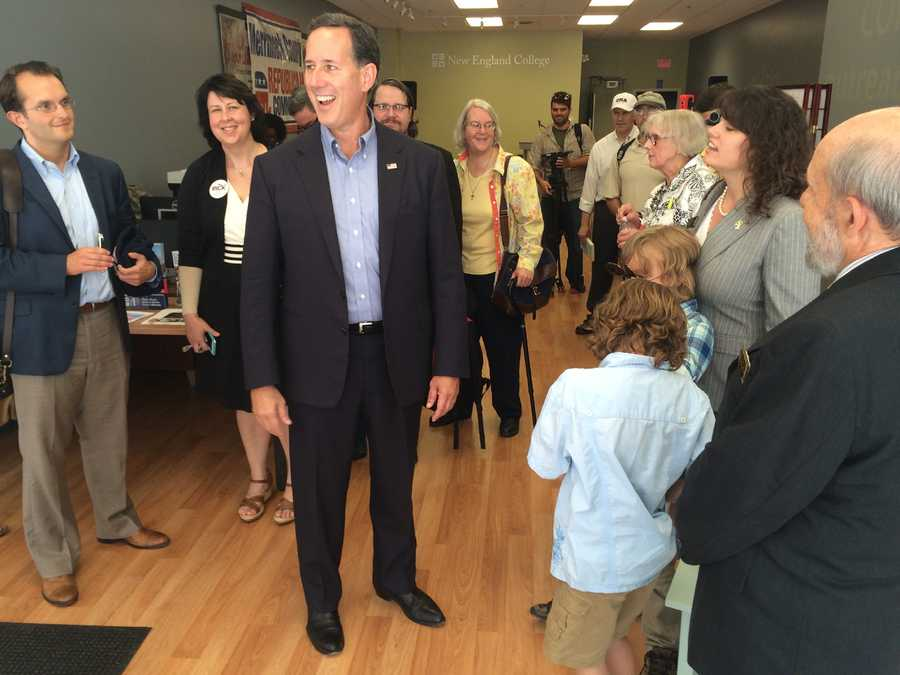 Rick Santorum lingers to talk with voters after a town hall at NEC Concord on July 24, 2015.