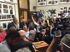 Sen. Bernie Sanders is met by a horde of cameras as he officially files for the primary at the New Hampshire Secretary of State's Office in Concord on November 5, 2015.