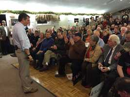 Sen. Ted Cruz fields a question at a town hall meeting at VFW Post 1088 in Kingston on November 11, 2015.
