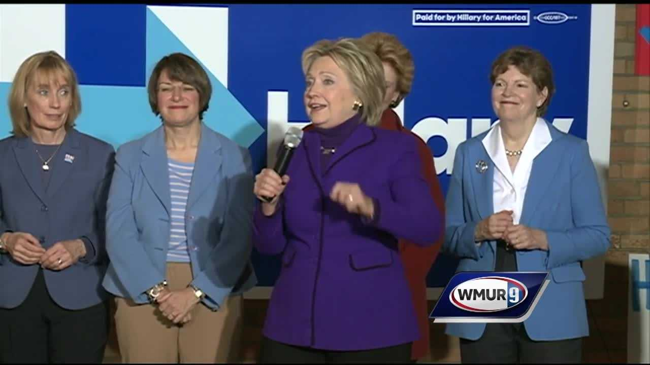 Democratic presidential candidate Hillary Clinton campaigned in New Hampshire on Friday after a sometimes-contentious debate the night before.