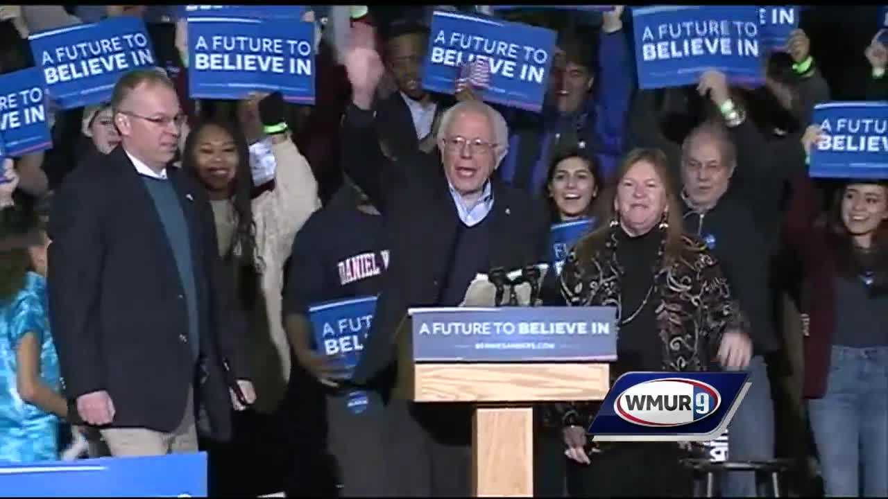"With one day left until the New Hampshire primary, Democratic candidate Bernie Sanders holds a ""Get Out the Vote"" rally in Nashua."