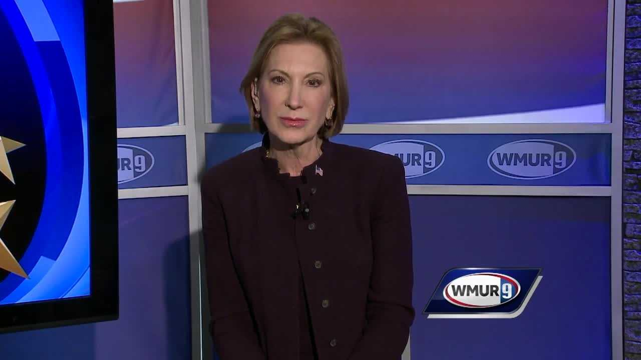 Republican presidential candidate Carly Fiorina delivers his final pitch to voters before polls open on Tuesday.