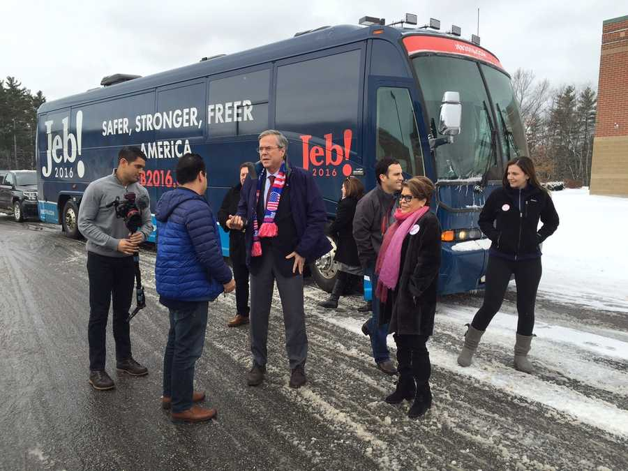 Republican Jeb Bush visits with voters at Bedford High School.