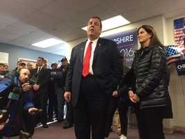 Republican Chris Christie visits with voters in Bedford.