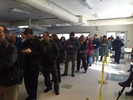 Long line of voters around lunchtime in Manchester.