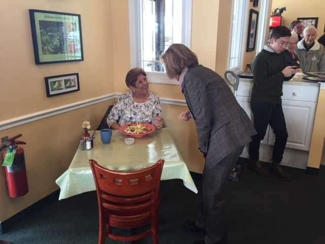 Republican Carly Fiorina visits with voters in Londonderry.