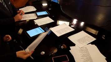 Here's the desk covered with scripts.