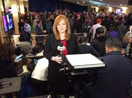 Reporter Jean Mackin reports live from the Trump campaign location in Manchester.