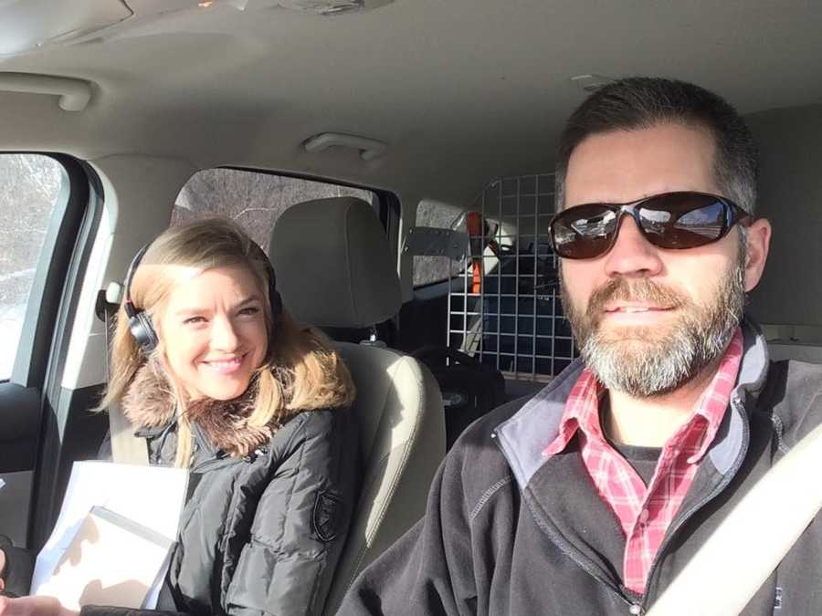 Reporter Kristen Carosa and photographer Joel Wade on the road.